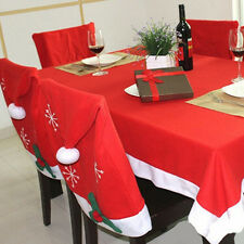 Christmas Theme Table cloth /Santa Hat Chair Seat Covers Xmas Party Dinner Decor