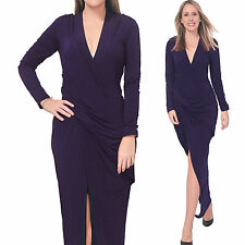 PURPLE WOMEN'S DRAPED LONG MAXI BODYCON SLIM DRESS EVENING PARTY COCKTAIL GOWN