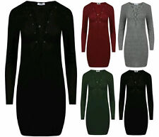 NEW WOMENS RIBBED KNIT DEEP V PLUNGE NECK LACE TIE UP FRONT LADIES BODYCON DRESS