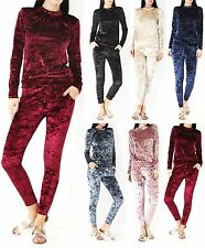 New Women Crushed Velour Velvet Jogger Lounge Wear 2 Piece Co-ordinate Tracksuit