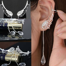 Women Ear Cuff Stud Hook Earring Silver Plated Crystal Rhinestone Wrap Cartilage