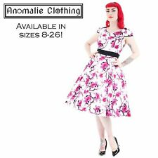 Hearts and Roses Pink and White Floral Swing Dress - Retro Rockabilly Pinup