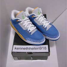 NEW 2007 NIKE AIR JORDAN III 3 RETRO LS DTRT BRISK BLUE PRO GOLD RDNT GREEN SZ 9