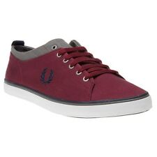 New Mens Fred Perry Maroon Hallam Twill Canvas Trainers Lace Up