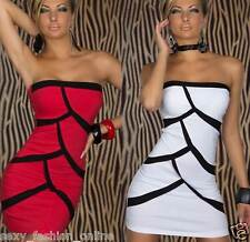 Womens White Black Red Splice Mini Dress Strapless Sexy Sheer Celebrity Bodycon
