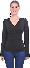 BLACK MARYCRAFTS WOMENS V NECK LONG SLEEVE FAUX WRAP BLOUSE TOP PULLOVER