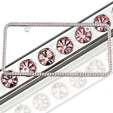 NEW License2Bling Motorcycle Swarovski Crystal License Plate Frame In Pink