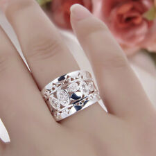 HOT Women New Fashion Natural Crystal 925 Solid Sterling Silver Ring Size 7 8 ST
