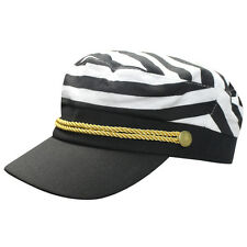 Adult Striped Yacht Boat Ship Sailor Captain Costume Hat Cap Navy Marine Admiral