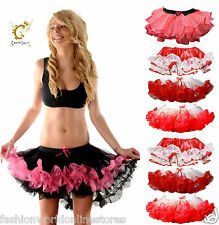New Ladies Women's 2 Layer Satin Short Burlesque Ruffle Tutu Skirt Fancy Dress