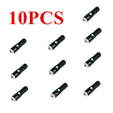 Hot 10PC 2000LM Q5 LED Tactical Rechargeable USB Flashlight Torch Zoom lot AB
