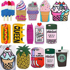 Cute 3D Cartoon Soft Silicone Biscuit Ice Cream Phone Case Skin Cover For Iphone