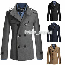 Mens Slim Stylish Trench Coat Winter Peacoat Jacket Double Breasted Overcoat New