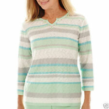 Womens Petite Embellished Neck Sequins Stripe Sweater 3/4 Sleeves ALFRED DUNNER