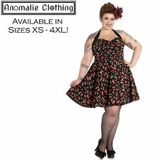 Hell Bunny Cherry Pop Mini Dress 1950s Vintage Pinup Retro Rockabilly Goth Punk