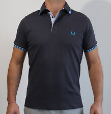 Men's Slim-Fit Twin Tripped Interlock Navy Polo Shirt Special Edition FRED PERRY
