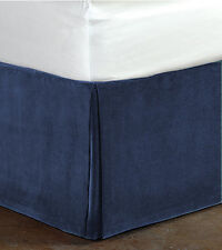 Bedding Collection 100% Cotton Velvet Box Pleated Bed skirt/Valance - Navy Blue