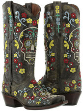 womens black distressed leather studded cowboy western boots skull rocker punk