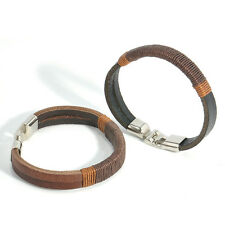 Black Brown New Surfer Mens Retro Hemp Wrap Leather Wristband Bracelet Cuff