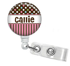 COTTON CANDY POLKA DOTS PERSONALIZED RETRACTABLE ID BADGE HOLDER OR LANYARD