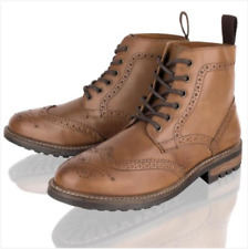 Mens Leather Brogue Dealer Lace Up Tan Casual Smart Chelsea Ankle Boots Shoes