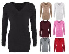 Ladies Women Fluffy Soft Knit V Neck Fur Jumper Top Mohair Eyelash Look Sweater