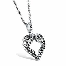 Men's Stainless Steel Black/White CZ Stone Wing Heart Pendant Necklace Chain