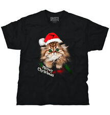 Cat Meow Santa Hat Christmas Gifts Funny Shirts Gift Ideas T Shirt Tee