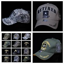 U.S. Army Veteran Retired Baseball Cap Military Hat Camo Logo Star Caps Black