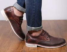 Men's retro Oxfords suede lace up pointy shoes Dress Formal business shoes size