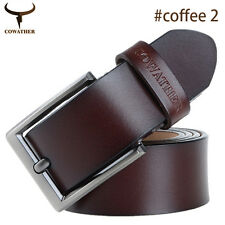 Brown Men's Genuine Leather Cowhide Waist Belt Alloy Pin Buckle Waistband Strap