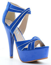 Criss-cross Multi Glitter Stiletto Heels Platform Sandals Blue