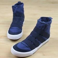 New Mens canvas skate board flat ankle boots pull on sneaker