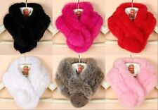 Winter Real Rabbit fur Scarf Stole Cape Collar Wrap Scarves Shawl Women