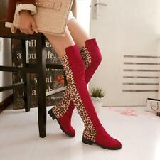 US sz new fashion womens sexy leopard print soft over the knee boots low heel