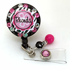 PERSONALIZED ZEBRA PINK FLOWER BLING RETRACTABLE ID BADGE HOLDER LANYARD