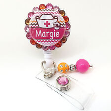 PERSONALIZED PINK ORANGE CHEVRON NURSE BLING RETRACTABLE ID BADGE HOLDER LANYARD