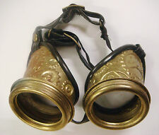 Steampunk embossed cog antique gold metal goggles