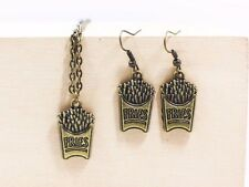 Miniature Jewelry French Fries Dangling Earrings Necklace Antique Bronze Set