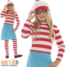Wheres Wally Wenda Girls Fancy Dress Book Day Week Childs Kid Costume Outfit New