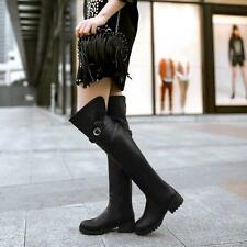 New Womens Buckle Riding pull on winter Low Heel Over Knee Thigh High Boots