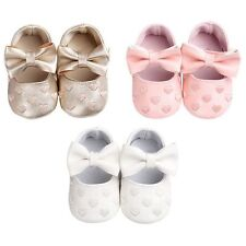 Cute Bowknot Heart Toddler Crib Shoes Infant Baby Girl Soft Sole Shoes Prewalker