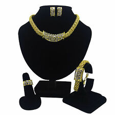 Wholesale Wedding Jewelry Set 4pcs Gold Plated Necklace Ring Earrings Bracelet