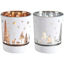 Set of 3 Reindeer Woodland Christmas Glass Tea Light Holders Silver or Copper
