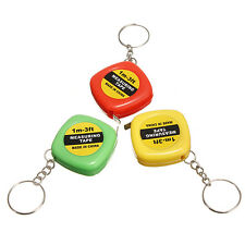 3 Colors Mini Keychain Easy Retractable Tape Measure Pull Ruler 1m
