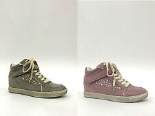 Womens High Top Trainers Ladies Trainers Girls Diamante Wedge Trainers Size