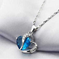SIMPLE RHINESTONE HEART INLAID CLAVICLE NECKLACE CHARM PENDANT FASHION WOMEN PO