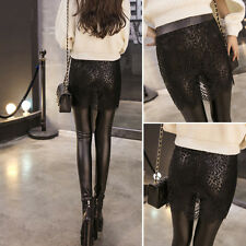 Hot Korean Style Women Stitching PU Leather Lace Pants Thin Slim Leggings lot DP