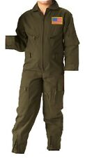 Kids Future Pilot Olive Drab Green Coveralls Flight Suit