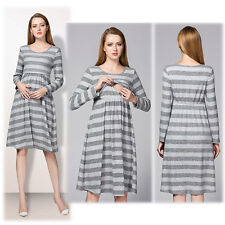 Striped Dress Nursing Breastfeeding Prenancy Maternity Trendy Cute S/M/L/XL/2XL